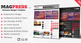 Free Download Magpress Magazine Responsive Blogger Template