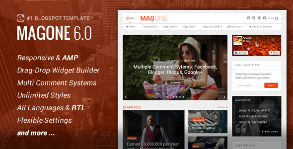 Free Download MagOne v6.2.6 Magazine Responsive Blogger Template