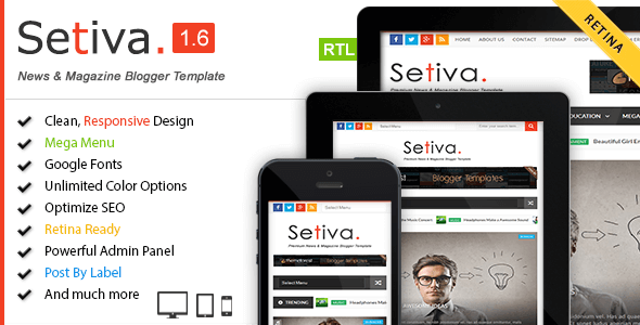 Free Download Setiva v1.6 Magazine Responsive Blogger Template